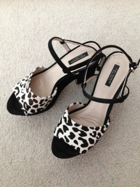 zara woman cow hair leopard print retro platform sandals