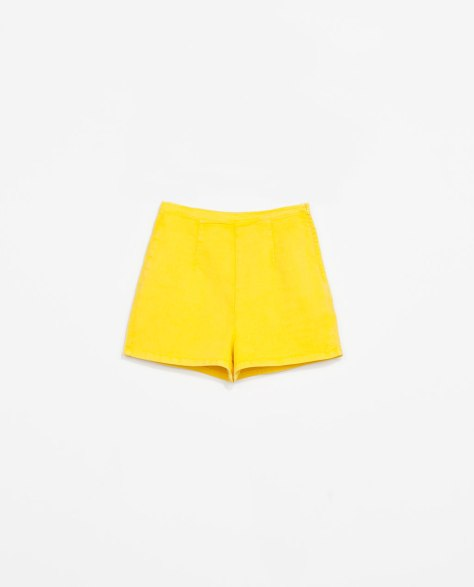 zara trf high waisted shorts yellow