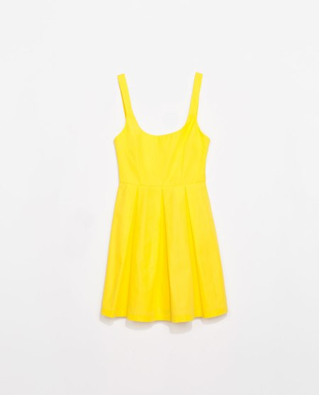 zara yellow pleated dress