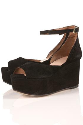 topshop java black suede peep toe platform