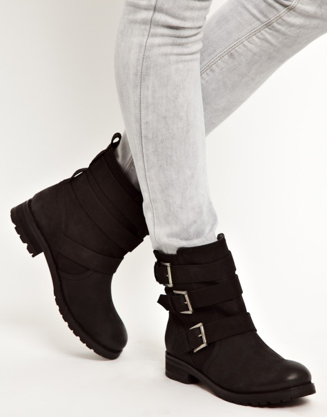 asos leather biker boots