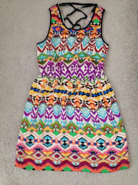 crazy print color block dress