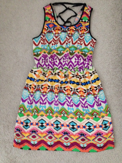 crazy print color block dress
