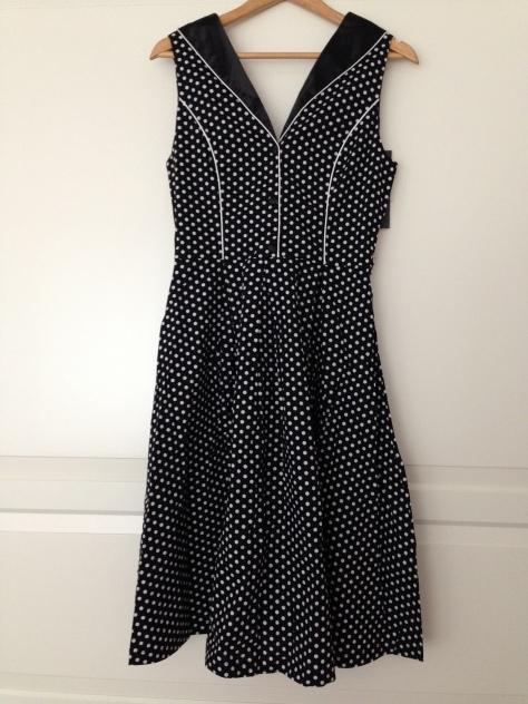 black and white polka dot swing dress