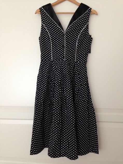 black and white polka dot swing dress