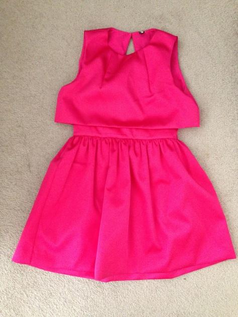 Topshop hot pink Crop Overlay Duchess Satin Dress
