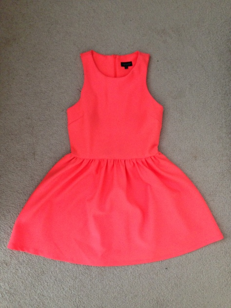 topshop coral neon dress
