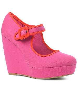 new look pink wedges