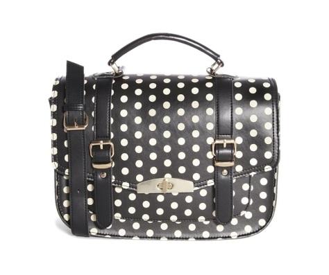 new look polka dot satchel bag