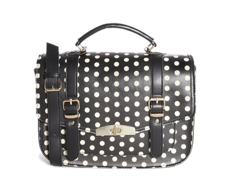 new look polka dot satchel bag