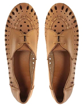 asos tan leather cut out flats