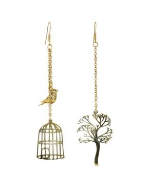 bird tree cage earrings
