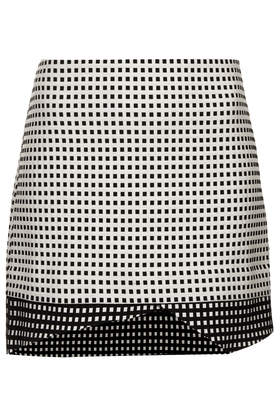 topshop tall contrast gingham wrap skirt