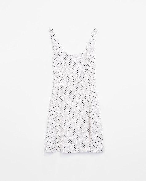 zara trf white and black polka dot dress