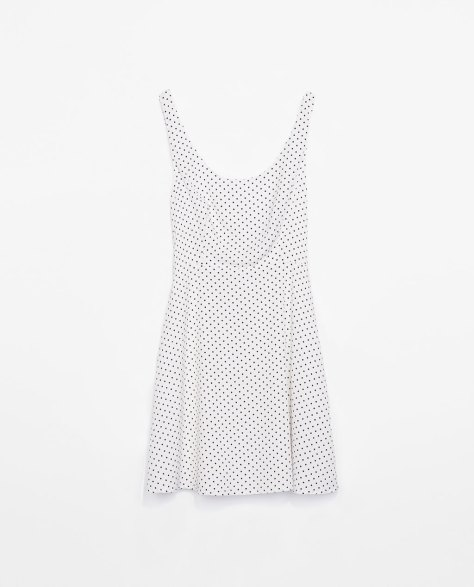 zara trf white and black polka dot dress