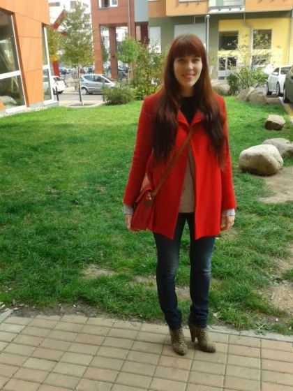 leopard print ankle boots, red coat