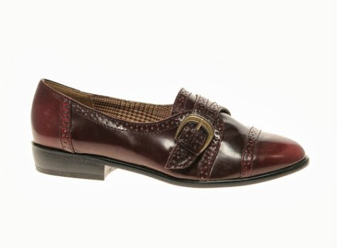 aldo brothen patent buckled shoes
