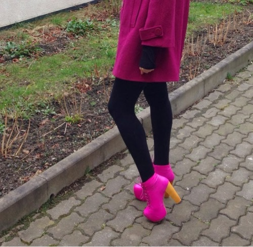 jeffrey campbell lita neon pink plus pink coat