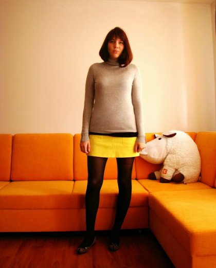 blink leo flats grey turtle neck yellow miniskirt