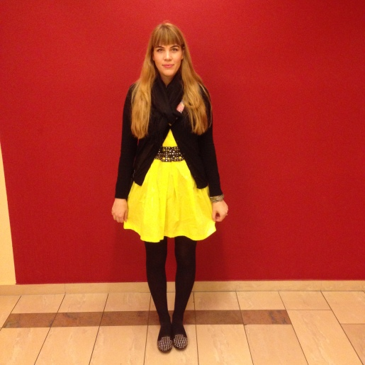 yellow zara dress, topshop studded shoes