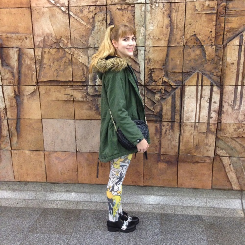 printed tights, parka jacket, cut out shoes