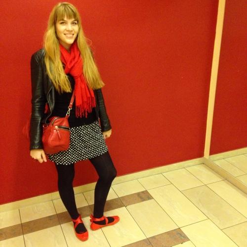 red ballet melissa flats, polka dots, leather jacket