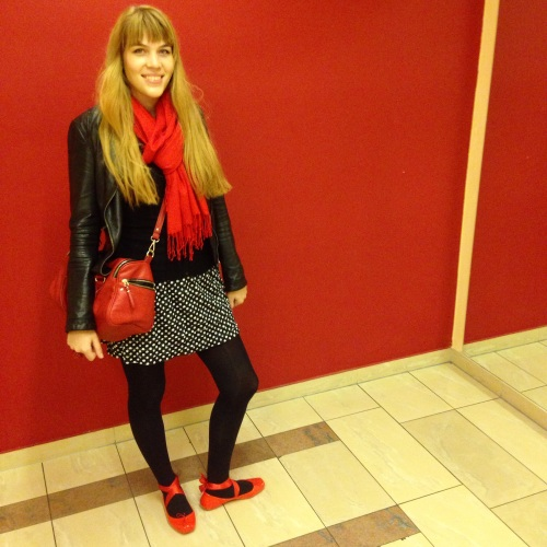 red ballet melissa flats, polka dots, leather jacket