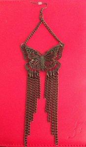brass butterfly chain earrings