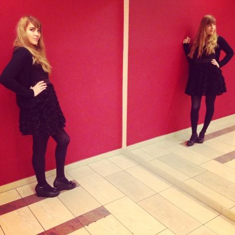 very veronique asos flower texture black dress, mel toffe apple shoes