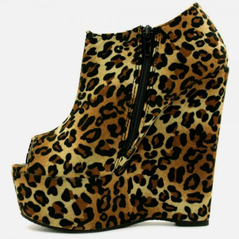 leopard print open toe ankle boots