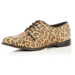 river island leopard print lace up shoes