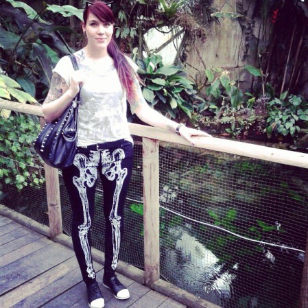skeleton pants, river island shoes, topshop tee