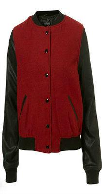topshop red and black baseball varsity jacket