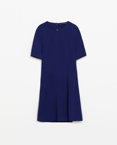 zara woman open back blue dress