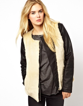 vila leather look fur jacket