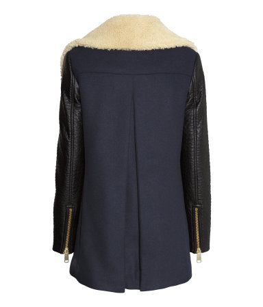H&M blue coat with leather look sleeves back