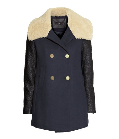 H&M blue coat with leather look sleeves