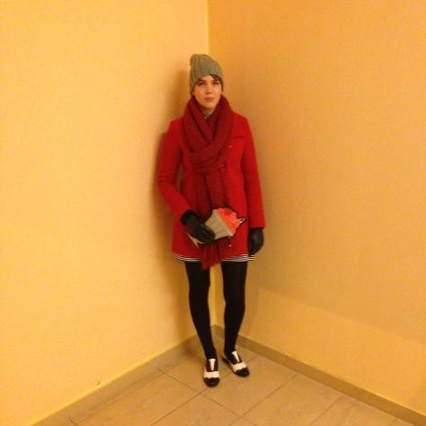 new look milkshake clutch bag, red winter coat, zara grey hat