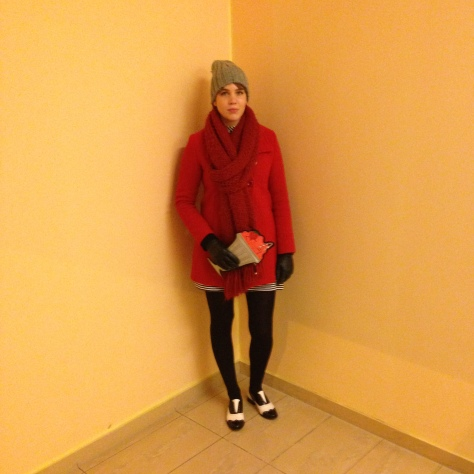 new look milkshake clutch bag, red winter coat, zara grey hat