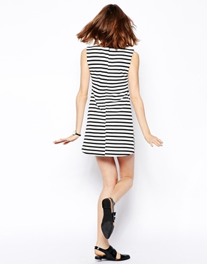 asos a line shift dress in stripe