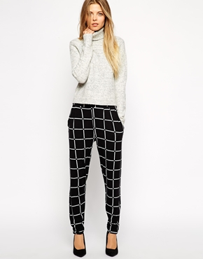 asos jersey grid trousers