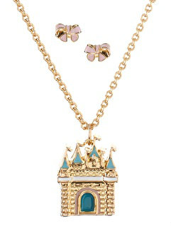 Disney Couture 14ct Gold Plated Sleeping Beauty Castle Pendant And Bow Earrings Set