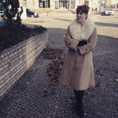 vintage winter coat, cat ear headband, fur collar