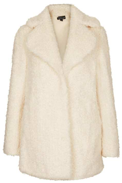 topshop Faux Fur Teddy Pea Coat