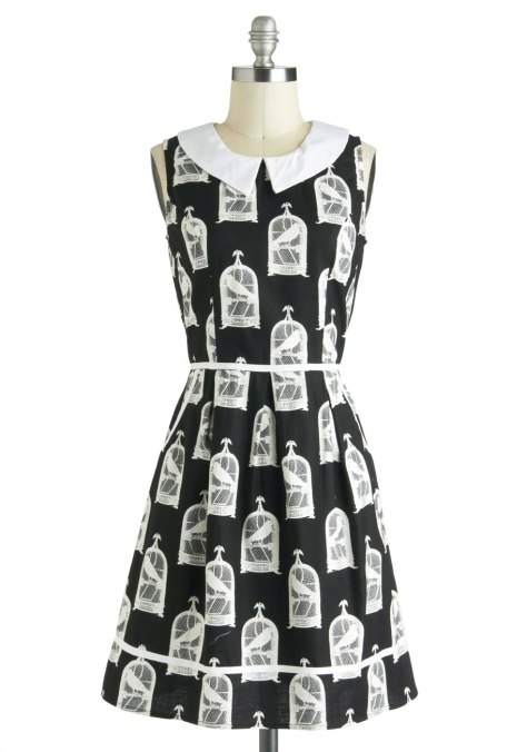 all eyes on unique modcloth bird cage print dress