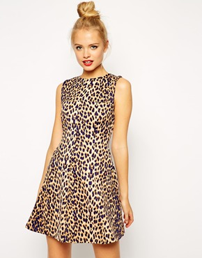 asos skater dress in leo print