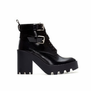 zara woman leather track ankle boots