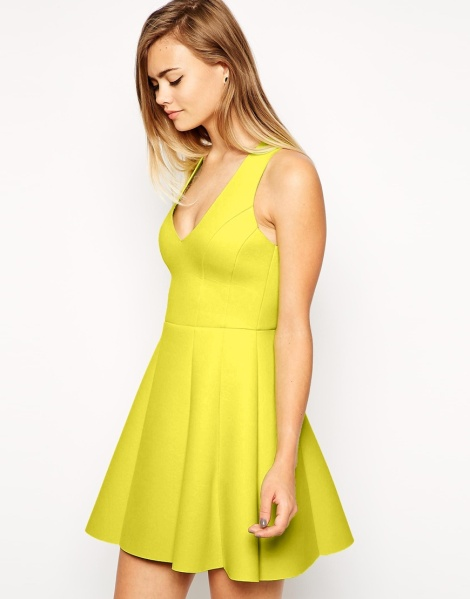 asos bonded raw edge lime skater dress