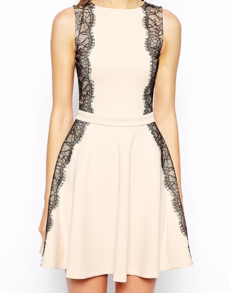 asos lace panel skater dress nude