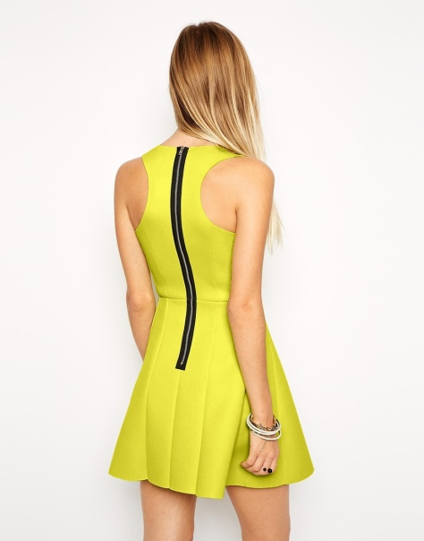 asos lime skater dress back view